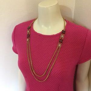 Ann Taylor Gold Chain Smoky Rhinestone Necklace